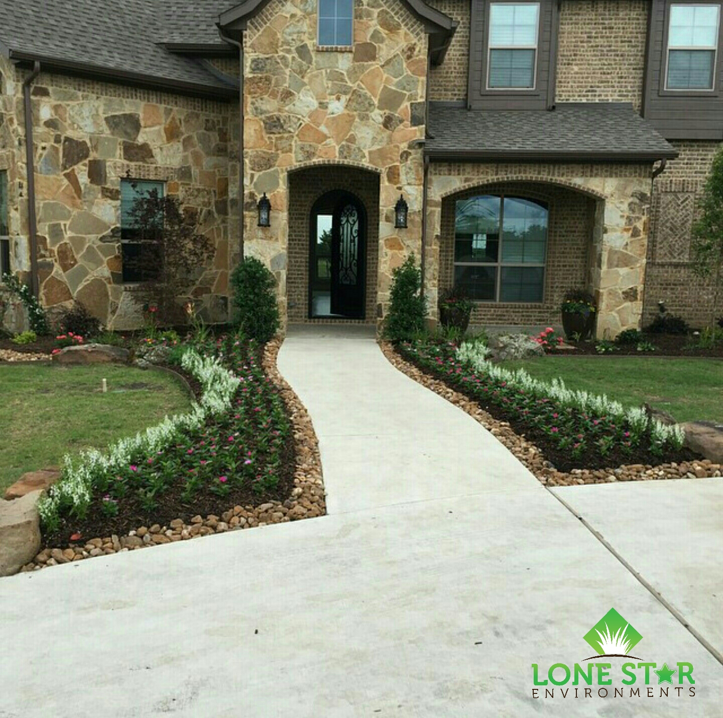 rockwall landscape install complete